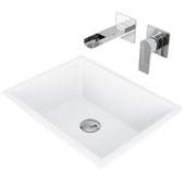 Vinca Matte Stone Vessel Bathroom Sink Set with Pop-Up Drain and Atticus Wall Mount Faucet in Chrome, 18-1/8'' W x 13-3/4'' D x 4-1/2'' H