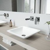 Begonia Matte Stone Vessel Bathroom Sink Set with Atticus Wall Mount Faucet in Chrome, 16-5/8'' W x 16-5/8'' D x 3-1/2'' H