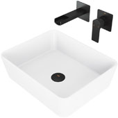 Marigold Matte Stone Vessel Bathroom Sink Set with Pop-Up Drain and Atticus Wall Mount Faucet in Matte Black, 17-3/4'' W x 14-3/8'' D x 5'' H