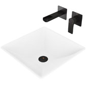 Hibiscus Matte Stone Vessel Bathroom Sink Set with Pop-Up Drain and Atticus Wall Mount Faucet in Matte Black, 16'' W x 16'' D x 4-3/4'' H