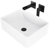 Amaryllis Matte Stone Vessel Bathroom Sink Set with Pop-Up Drain and Atticus Wall Mount Faucet in Matte Black, 19-5/8'' W x 14-1/2'' D x 6-1/8'' H