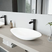 Wisteria Matte Stone Vessel Bathroom Sink Set with Niko Vessel Faucet in Matte Black, 23'' W x 13-5/8'' D x 4'' H