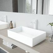 Magnolia Matte Stone Vessel Bathroom Sink Set with Niko Vessel Faucet in Matte White, 21-1/16'' W x 13-1/16'' D x 4-3/4'' H