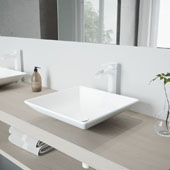 Hibiscus Matte Stone Vessel Bathroom Sink Set with Pop-Up Drain and Niko Vessel Faucet in Matte White, 16'' W x 16'' D x 4-3/4'' H