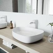 Peony Matte Stone Vessel Bathroom Sink Set with Niko Vessel Faucet in Matte White, 20-1/4'' W x 15-1/2'' D x 5'' H