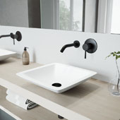 Begonia Matte Stone Vessel Bathroom Sink Set with Olus Wall Mount Faucet in Matte Black, 16-5/8'' W x 16-5/8'' D x 3-1/2'' H