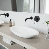 Wisteria Matte Stone Vessel Bathroom Sink Set with Olus Wall Mount Faucet in Matte Black, 23'' W x 13-5/8'' D x 4'' H