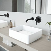 Jasmine Matte Stone Vessel Bathroom Sink Set with Olus Wall Mount Faucet in Matte Black, 18'' W x 14-1/2'' D x 5'' H