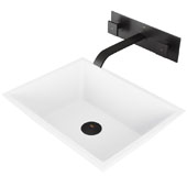 Vinca Matte Stone Vessel Bathroom Sink Set with Pop-Up Drain and Titus Wall Mount Faucet in Matte Black, 18-1/8'' W x 13-3/4'' D x 4-1/2'' H
