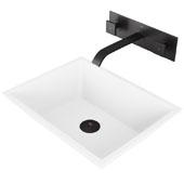 Vinca Matte Stone Vessel Bathroom Sink Set with Pop-Up Drain and Titus Wall Mount Faucet in Matte Black, 18-1/8'' W x 13-3/4'' D x 4-1/2'' H