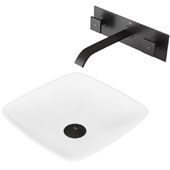 Hyacinth Matte Stone Vessel Bathroom Sink Set with Pop-Up Drain and Titus Wall Mount Faucet in Matte Black, 13-3/4'' W x 13-3/4'' D x 4'' H