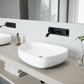 Peony Matte Stone Vessel Bathroom Sink Set with Titus Wall Mount Faucet in Matte Black, 20-1/4'' W x 15-1/2'' D x 5'' H