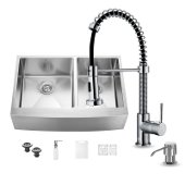 Bingham Collection All in One 33'' Farmhouse Stainless Steel Double Bowl Kitchen Sink and Chrome Faucet Set, VIG-VG15208