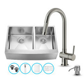 All in One 33'' Farmhouse Stainless Steel Double Bowl Kitchen Sink and Faucet Set, VIG-VG15213