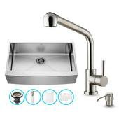 All in One 36'' Farmhouse Stainless Steel Kitchen Sink and Faucet Set, VIG-VG15262
