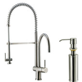 Pull-Down Spray Kitchen Faucet with Soap Dispenser, Stainless Steel Finish, 27-3/4''H