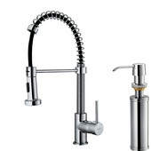 Pull-Out Spray Kitchen Faucet with Soap Dispenser, Chrome Finish, 18-3/4''H with 9-1/2'' Spout Reach