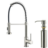 Pull-Out Spray Kitchen Faucet with Soap Dispenser, Stainless Steel Finish, 18-3/4''H with 9-1/2'' Spout Reach