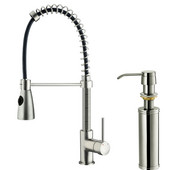 Pull-Out Spray Kitchen Faucet with Soap Dispenser, Stainless Steel Finish, 18-3/4''H with 9-3/4'' Spout Reach