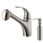 Pull-Out Spray Kitchen Faucet with Soap Dispenser, Stainless Steel Finish, 9-3/4''H