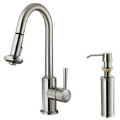 Pull-Out Spray Kitchen Faucet with Soap Dispenser, Stainless Steel Finish, 16-1/2''H