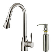 Pull-Out Spray Kitchen Faucet with Soap Dispenser, Stainless Steel Finish, 15-3/4''H