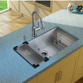 32'' Undermount Kitchen Sink, 16-1/2''H Faucet, Colander, Grid, Strainer and Dispenser, Stainless Steel Finish