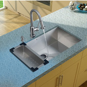 32'' Undermount Kitchen Sink, 16-1/2''H Faucet, Colander, Strainer and Dispenser, Stainless Steel Finish