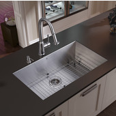 Ludlow Collection Undermount Kitchen Sink, 16-1/2''H Faucet, Grid, Strainer and Dispenser, Stainless Steel Finish, 32''W x 19''D