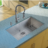 32'' Undermount Kitchen Sink, 18-3/4''H Faucet, Grid, Strainer and Dispenser, Stainless Steel Finish