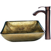 Rectangular Copper Vessel Sink and Bronze Faucet, Oil Rubbed Bronze Finish, 21-3/4''W x 14-1/4''D x 3-3/4''H