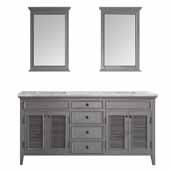 Piedmont 72'' Double Vanity Set in Grey with Carrara White Marble Countertop With Mirror, 72-13/16''W x 23-3/16''D x 35-11/16''H