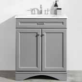 Naples 30'' Vanity Set in Grey with Carrara White Marble Countertop, 30''W x 22''D x 35-7/8''H