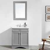 Naples 30'' Vanity Set in Grey with Carrara White Marble Countertop With Mirror, 30''W x 22''D x 35-7/8''H