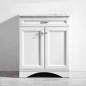 Naples 30'' Vanity Set in White with Carrara White Marble Countertop, 30''W x 22''D x 35-7/8''H