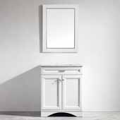 Naples 30'' Vanity Set in White with Carrara White Marble Countertop With Mirror, 30''W x 22''D x 35-7/8''H