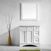 Naples 36'' Vanity Set in White with Carrara White Marble Countertop With Mirror, 36''W x 22''D x 35-7/8''H