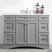 Naples 48'' Vanity Set in Grey with Carrara White Marble Countertop, 48''W x 22''D x 35-7/8''H