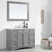 Naples 48'' Vanity Set in Grey with Carrara White Marble Countertop With Mirror, 48''W x 22''D x 35-7/8''H