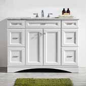 Naples 48'' Vanity Set in White with Carrara White Marble Countertop, 48''W x 22''D x 35-7/8''H