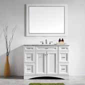 Naples 48'' Vanity Set in White with Carrara White Marble Countertop With Mirror, 48''W x 22''D x 35-7/8''H