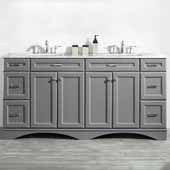 Naples 72'' Vanity Set in Grey with Carrara White Marble Countertop, 72''W x 22''D x 35-7/8''H
