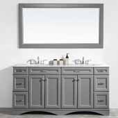 Naples 72'' Double Sink Vanity Set in Grey with Carrara White Marble Countertop With Mirror, 72''W x 22''D x 35-7/8''H
