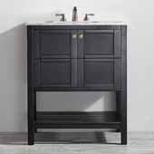 Florence 30'' Vanity Set in Espresso with Carrara White Marble Countertop, 30''W x 22''D x 35-7/8''H