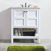 Florence 30'' Vanity Set in White with Carrara White Marble Countertop, 30''W x 22''D x 35-7/8''H