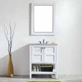 Florence 30'' Vanity Set in White with Carrara White Marble Countertop With Mirror, 30''W x 22''D x 35-7/8''H