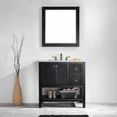 Florence 36'' Vanity Set in Espresso with Carrara White Marble Countertop With Mirror, 36''W x 22''D x 35-7/8''H