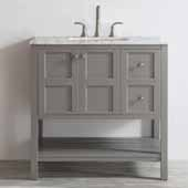Florence 36'' Single Vanity Set in Grey with Carrara White Marble Countertop, 36''W x 22''D x 35-7/8''H