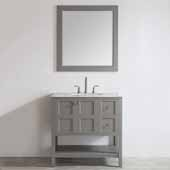 Florence 36'' Single Vanity Set in Grey with Carrara White Marble Countertop With Mirror, 36''W x 22''D x 35-7/8''H