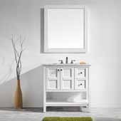 Florence 36'' Vanity Set in White with Carrara White Marble Countertop With Mirror, 36''W x 22''D x 35-7/8''H